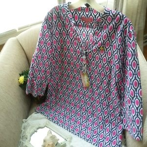NEW! Masters MAGNOLIA Lane Pink & BLUE TUNIC SZ M
